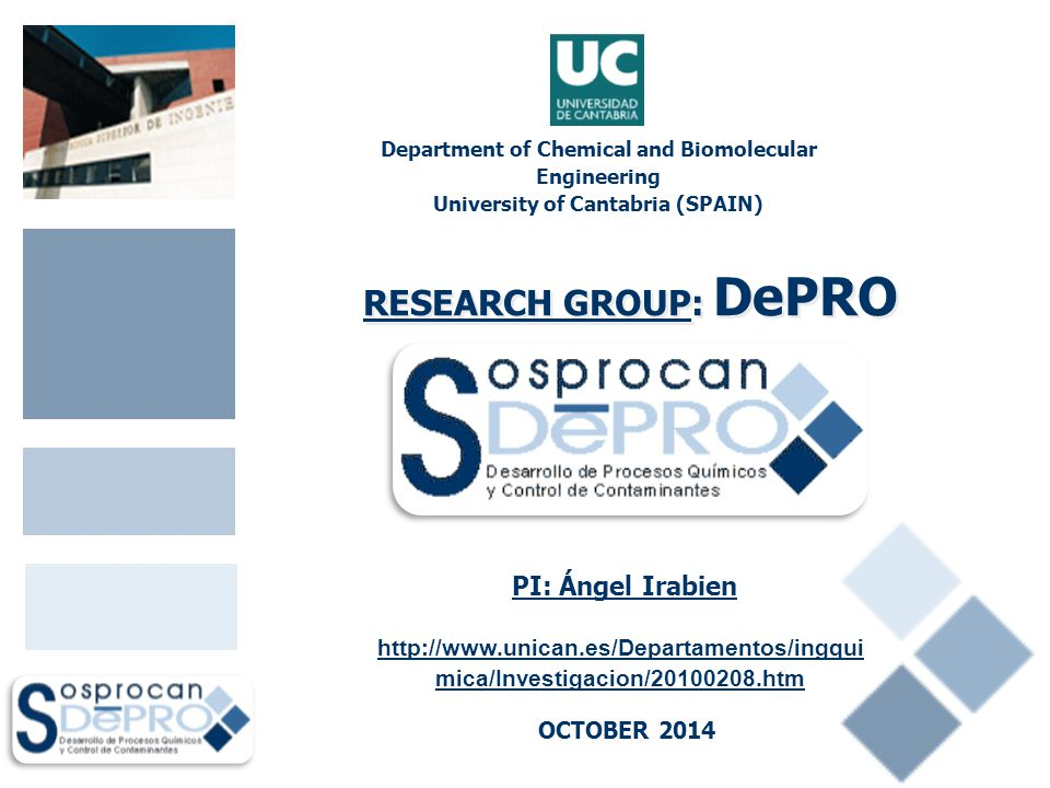 Department of Chemical and Biomolecular Engineering University of Cantabria (SPAIN) OCTOBER 2014 PI: Ángel Irabien RESEARCH GROUP: DePRO http://www.un