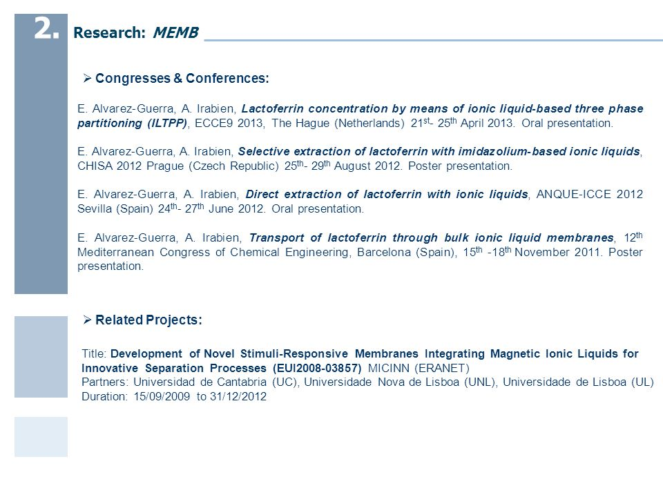  Related Projects:  Congresses & Conferences: E.