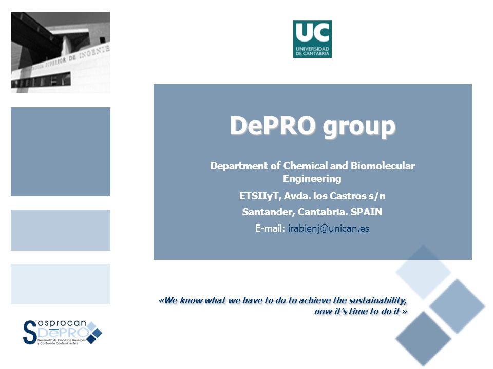 DePRO group Department of Chemical and Biomolecular Engineering ETSIIyT, Avda.