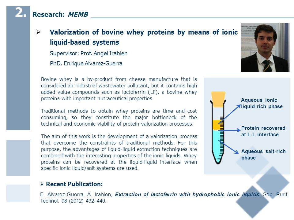  Valorization of bovine whey proteins by means of ionic liquid-based systems Supervisor: Prof.