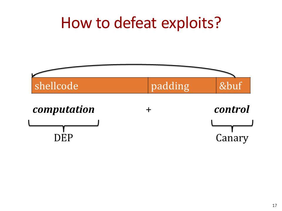 How to defeat exploits? computation + control shellcodepadding&buf CanaryDEP 17