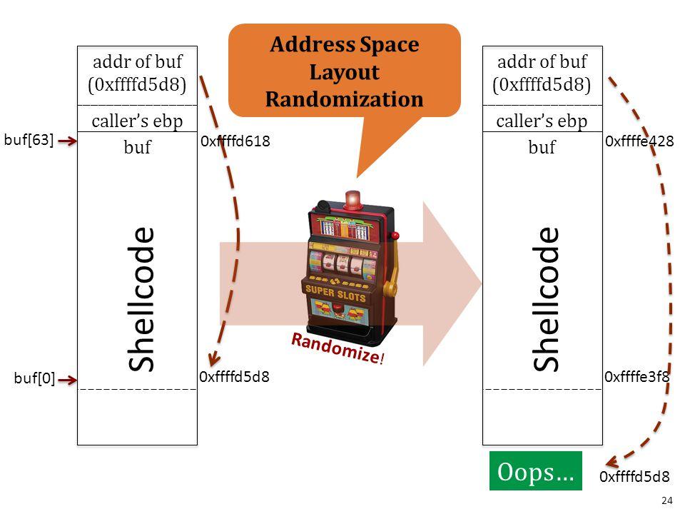 Randomize ! addr of buf (0xffffd5d8) caller's ebp buf Shellcode 0xffffe3f8 0xffffe428 0xffffd5d8 addr of buf (0xffffd5d8) caller's ebp buf buf[0] buf[