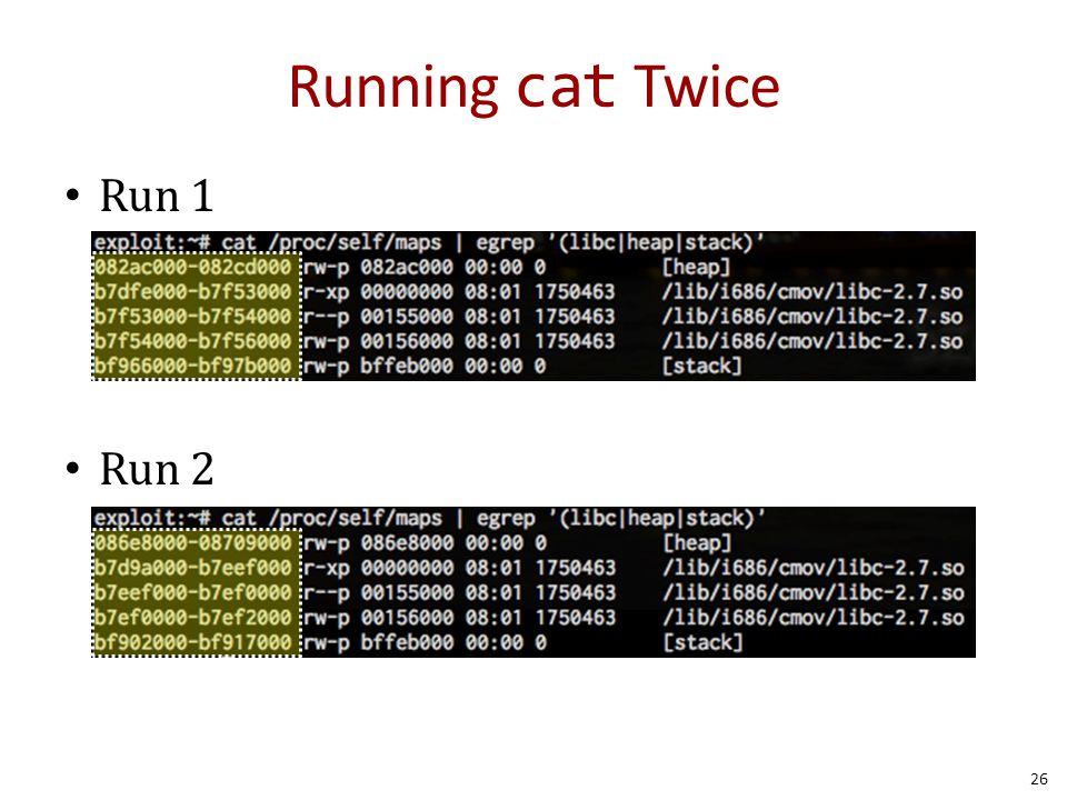 Running cat Twice Run 1 Run 2 26