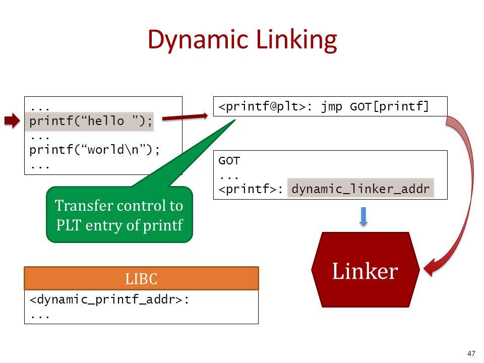 "Dynamic Linking... printf(""hello "");... printf(""world\n"");... : jmp GOT[printf] GOT... : dynamic_linker_addr Transfer control to PLT entry of printf :"