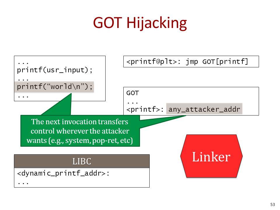 "GOT Hijacking... printf(usr_input);... printf(""world\n"");... : jmp GOT[printf] GOT... : any_attacker_addr :... LIBC Linker The next invocation transfe"
