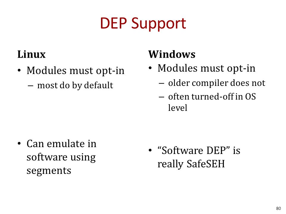DEP Support Linux Modules must opt-in – most do by default Can emulate in software using segments Windows Modules must opt-in – older compiler does no