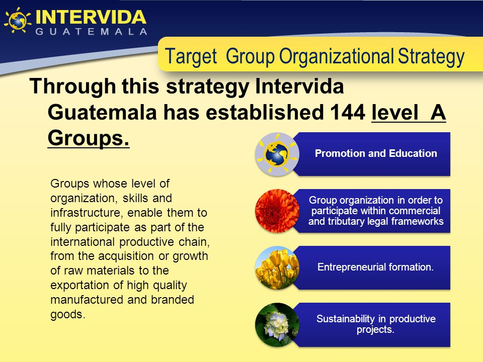 Target Group Organizational Strategy Through this strategy Intervida Guatemala has established 144 level A Groups.