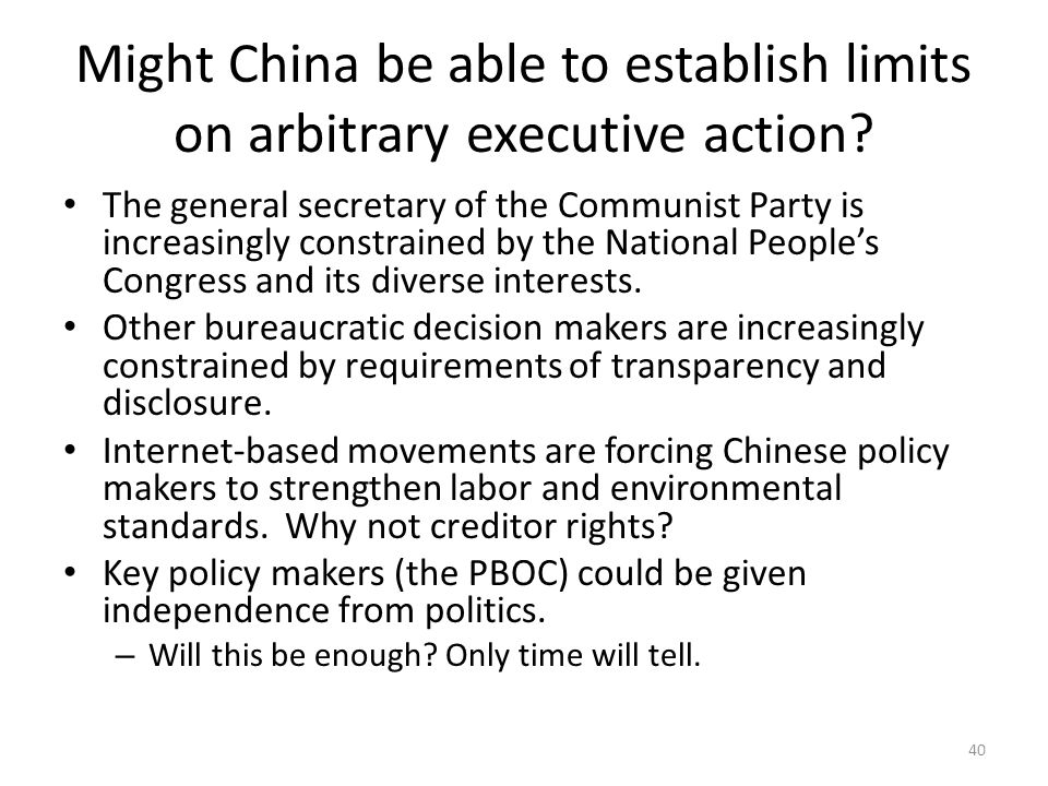 Might China be able to establish limits on arbitrary executive action.