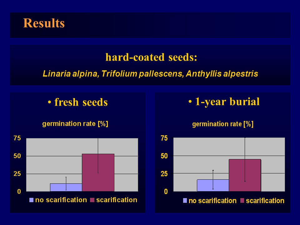 Results fresh seeds 1-year burial hard-coated seeds: Linaria alpina, Trifolium pallescens, Anthyllis alpestris