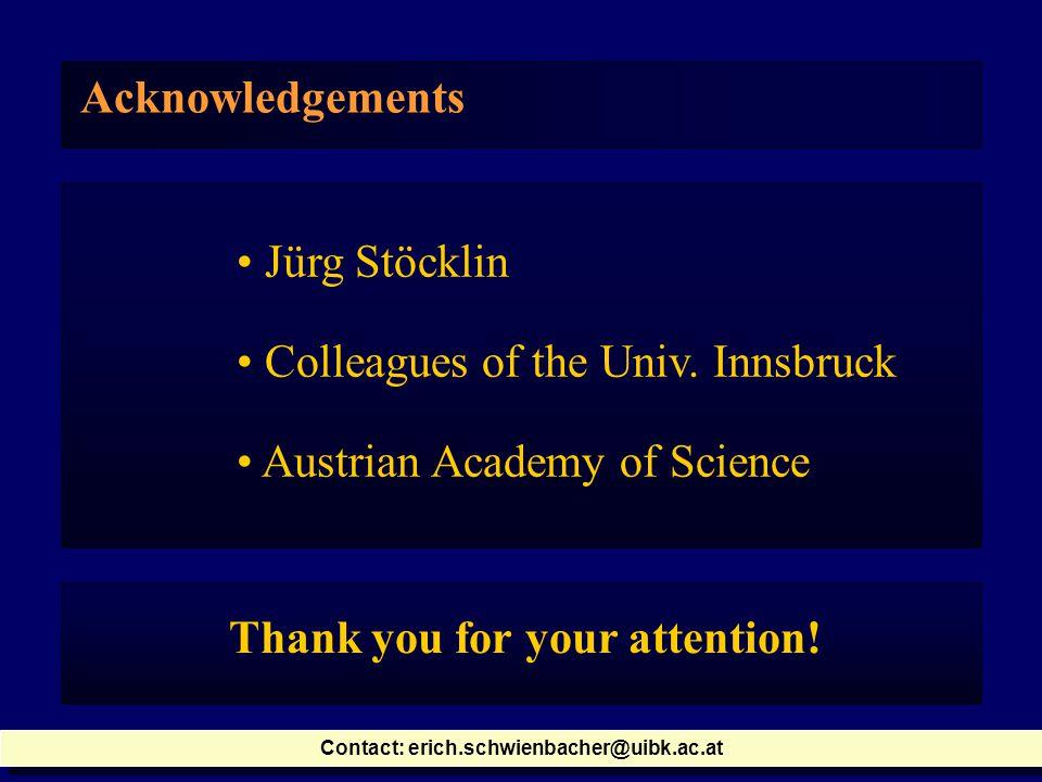 Acknowledgements Jürg Stöcklin Colleagues of the Univ.