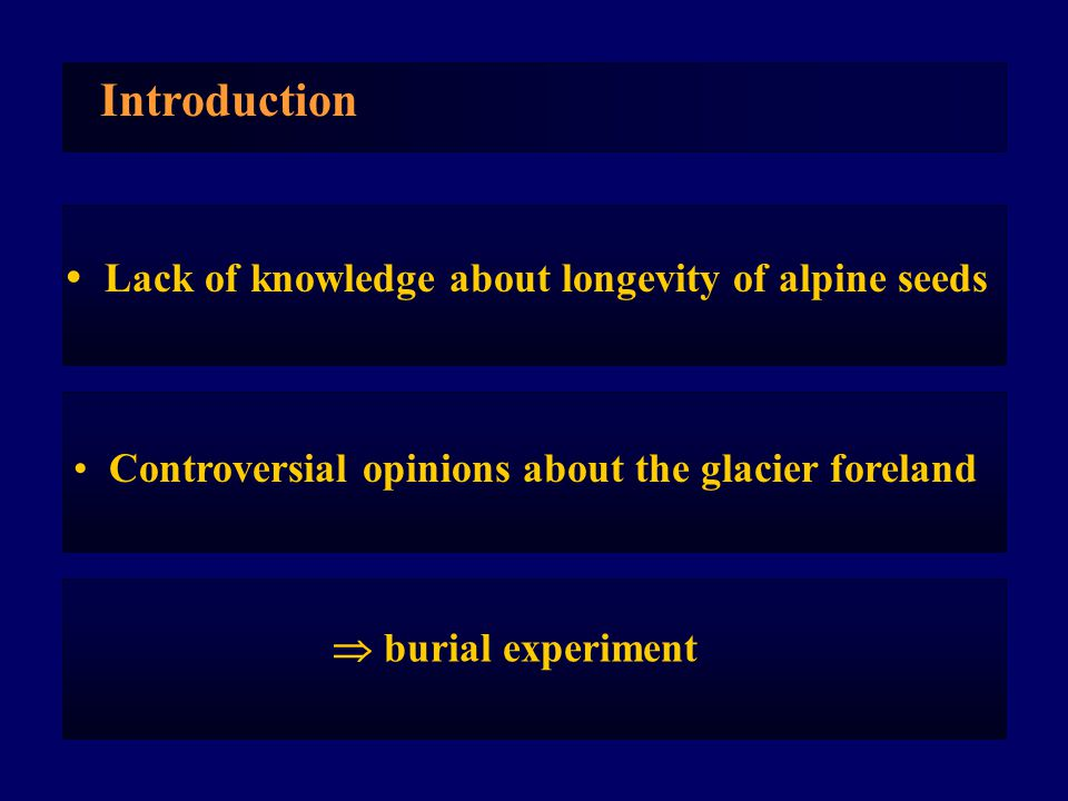  Lack of knowledge about longevity of alpine seeds Introduction Controversial opinions about the glacier foreland  burial experiment