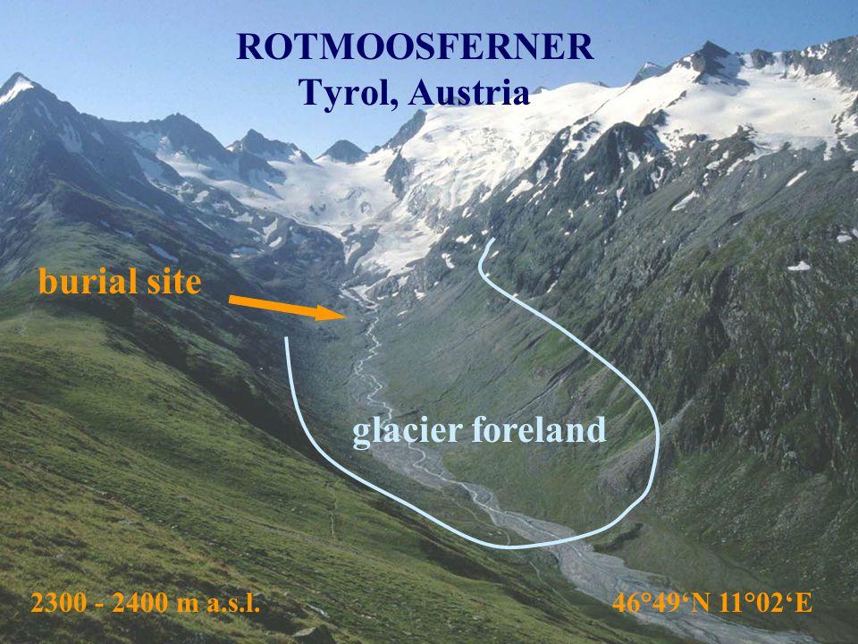 ROTMOOSFERNER Tyrol, Austria burial site 2300 - 2400 m a.s.l. 46°49'N 11°02'E glacier foreland