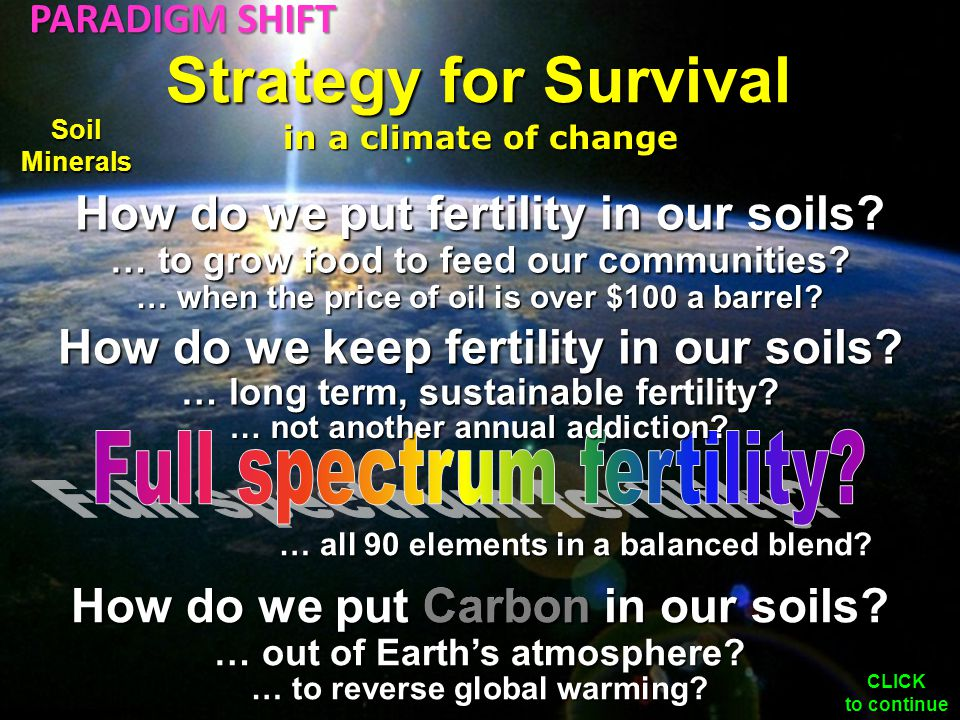 How do we put fertility in our soils. … to grow food to feed our communities.