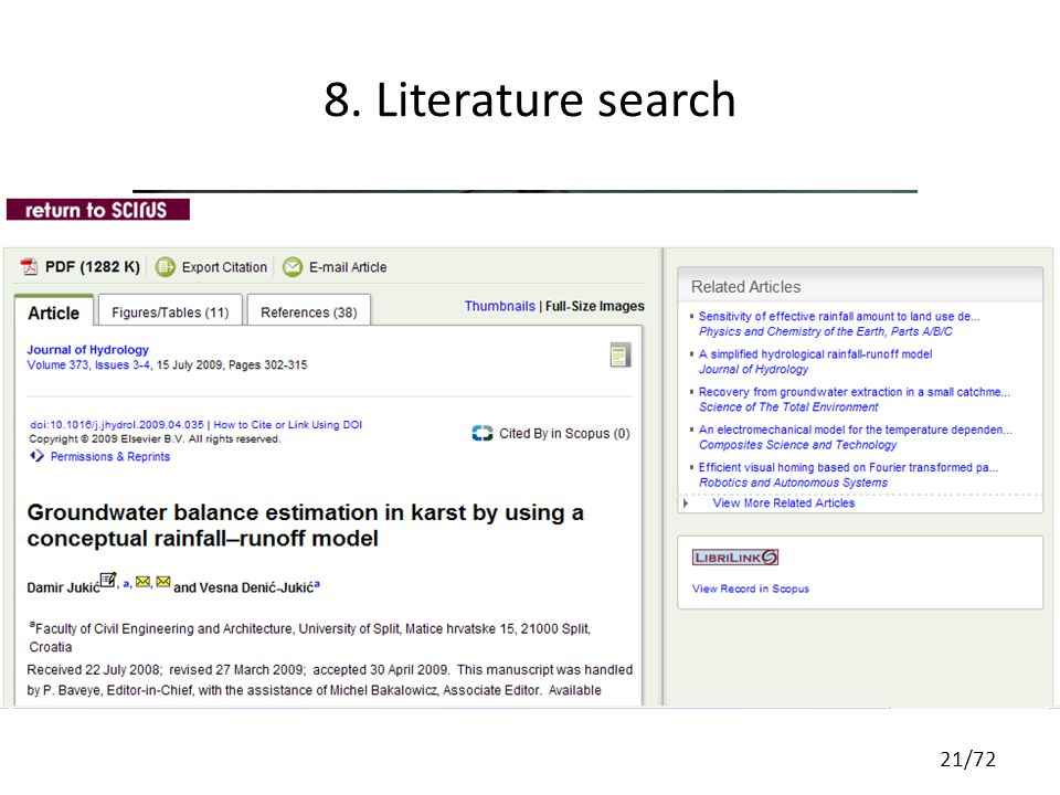 8. Literature search 21/72