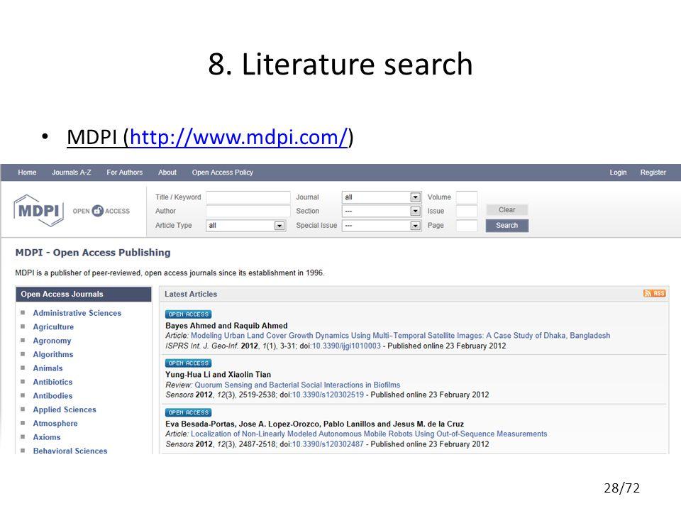 8. Literature search MDPI (http://www.mdpi.com/)http://www.mdpi.com/ 28/72