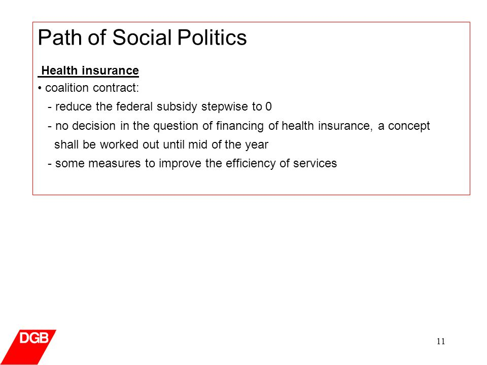 11 Path of Social Politics Health insurance coalition contract: - reduce the federal subsidy stepwise to 0 - no decision in the question of financing of health insurance, a concept shall be worked out until mid of the year - some measures to improve the efficiency of services