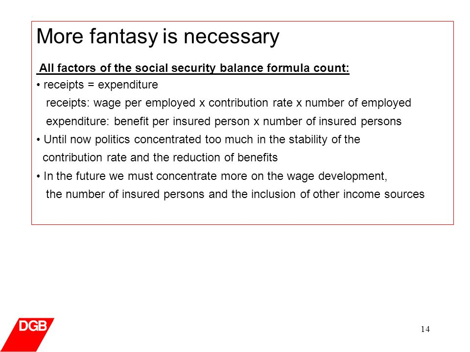 14 More fantasy is necessary All factors of the social security balance formula count: receipts = expenditure receipts: wage per employed x contribution rate x number of employed expenditure: benefit per insured person x number of insured persons Until now politics concentrated too much in the stability of the contribution rate and the reduction of benefits In the future we must concentrate more on the wage development, the number of insured persons and the inclusion of other income sources
