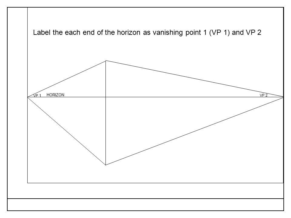 VP 1 VP 2 Label the each end of the horizon as vanishing point 1 (VP 1) and VP 2 HORIZON
