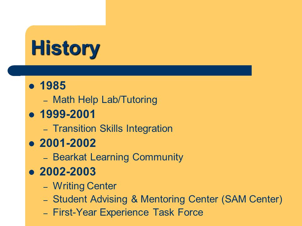 History 2003-2004 – Reading Center – Developmental Class Changes 2004-2005 – First-Year Experience Office SAM 136 – Introduction to Collegiate Studies Freshman Learning Community – General Cohort FYE E-newsletter FYE Advisory Board