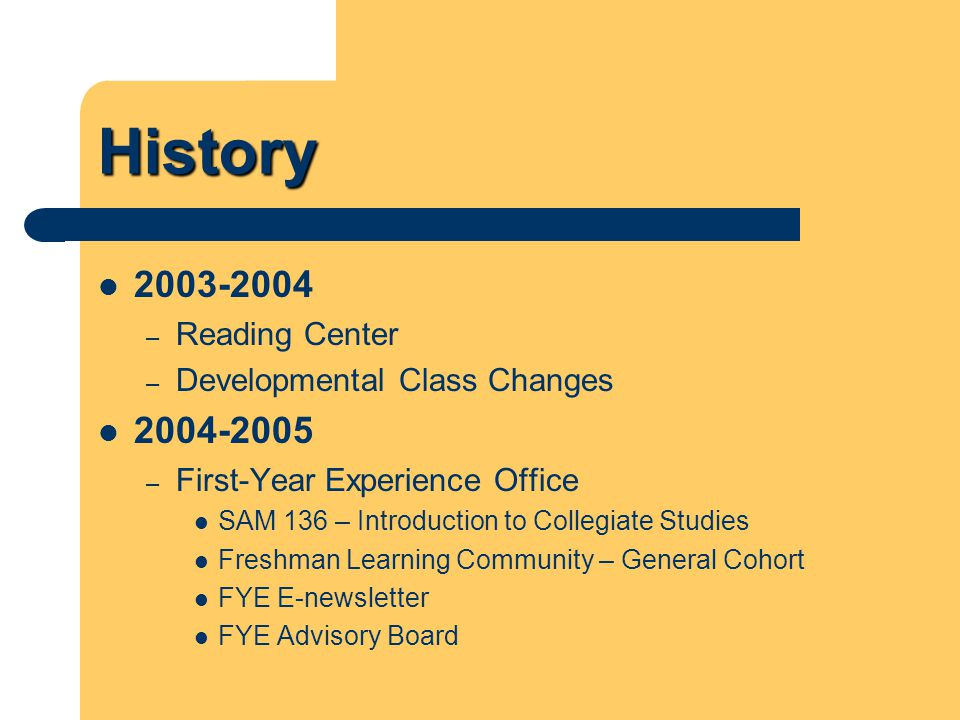 History 2005-2006 – New Student Convocation – Freshman Learning Community – Business, Criminal Justice, & Education Cohorts 2006-2007 – Parent Newsletter – Freshman Learning Community – Agriculture Cohort – SAM 136 – Honors Section – SAM 136 - Academic Coach (Profiles International, Inc.)