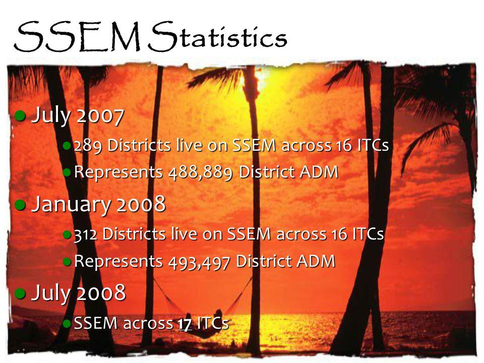 SSEM Statistics July 2007 July 2007 289 Districts live on SSEM across 16 ITCs 289 Districts live on SSEM across 16 ITCs Represents 488,889 District ADM Represents 488,889 District ADM January 2008 January 2008 312 Districts live on SSEM across 16 ITCs 312 Districts live on SSEM across 16 ITCs Represents 493,497 District ADM Represents 493,497 District ADM July 2008 July 2008 SSEM across 17 ITCs SSEM across 17 ITCs