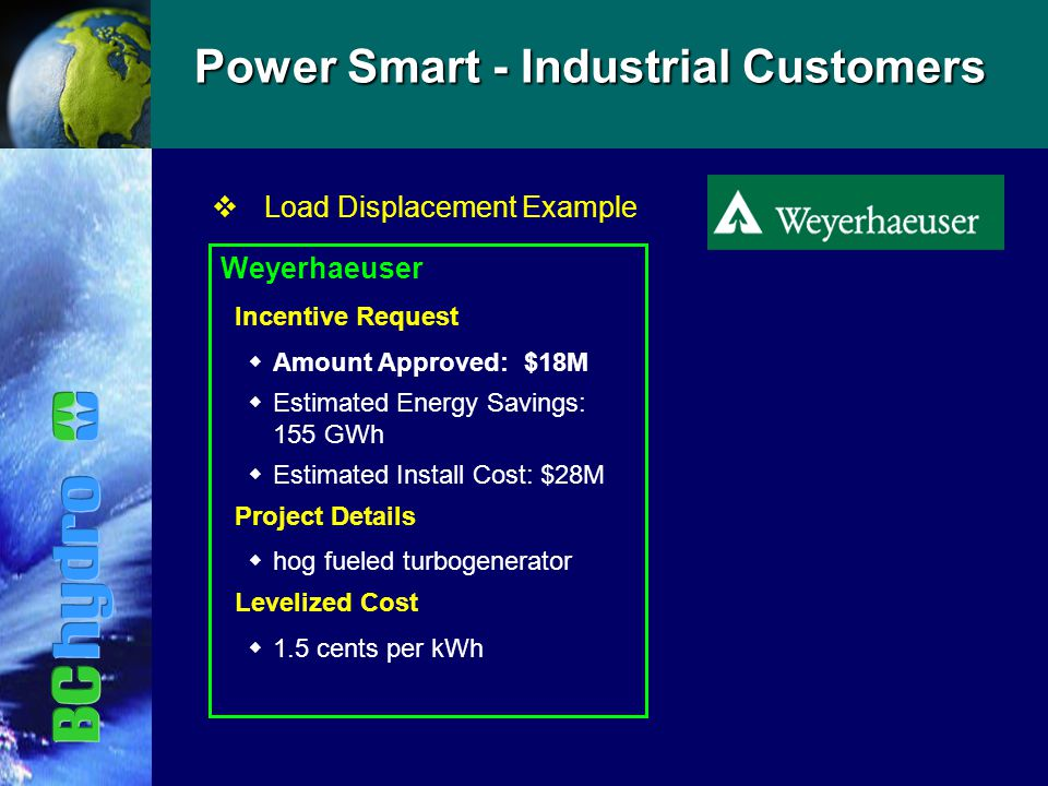 Power Smart - Industrial Customers vLoad Displacement Example Weyerhaeuser Incentive Request  Amount Approved: $18M  Estimated Energy Savings: 155 GWh  Estimated Install Cost: $28M Project Details  hog fueled turbogenerator Levelized Cost  1.5 cents per kWh