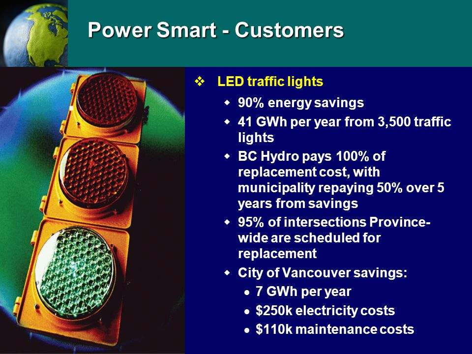 Power Smart - Customers vLED traffic lights  90% energy savings  41 GWh per year from 3,500 traffic lights  BC Hydro pays 100% of replacement cost, with municipality repaying 50% over 5 years from savings  95% of intersections Province- wide are scheduled for replacement  City of Vancouver savings:  7 GWh per year  $250k electricity costs  $110k maintenance costs
