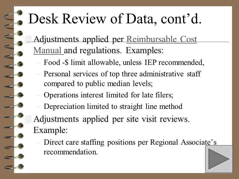 Desk Review of Data 4 Like costs are grouped into non-direct care and direct care categories –Personal Services/Fringe Benefits -Teachers –Personal Se