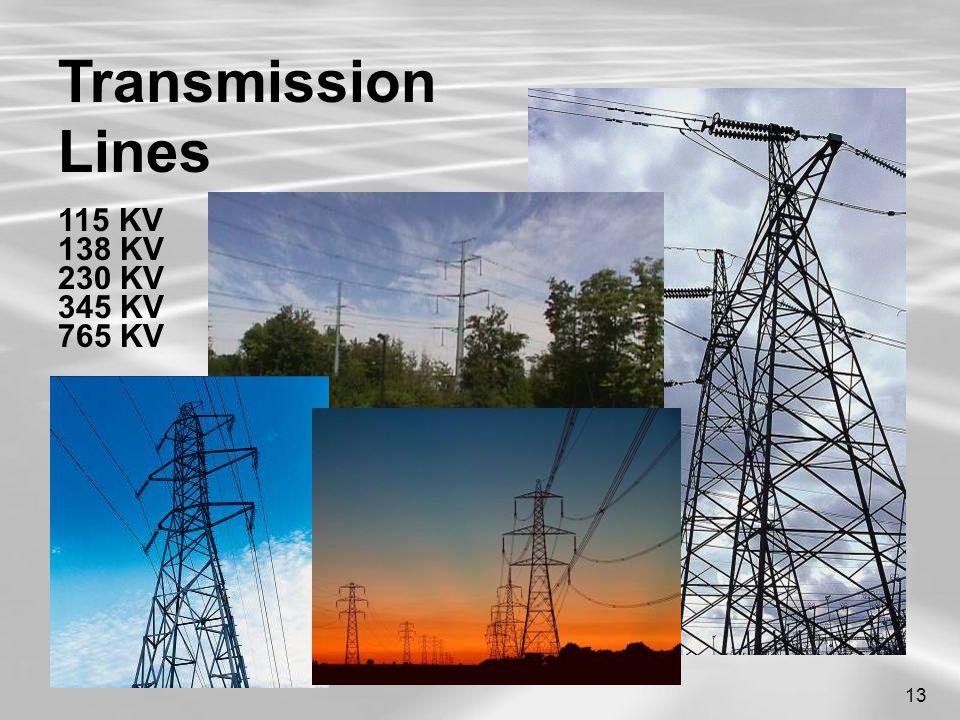 13 Transmission Lines 115 KV 138 KV 230 KV 345 KV 765 KV