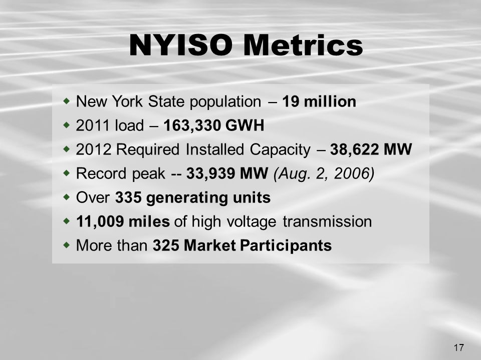 17 NYISO Metrics  New York State population – 19 million  2011 load – 163,330 GWH  2012 Required Installed Capacity – 38,622 MW  Record peak -- 33,939 MW (Aug.
