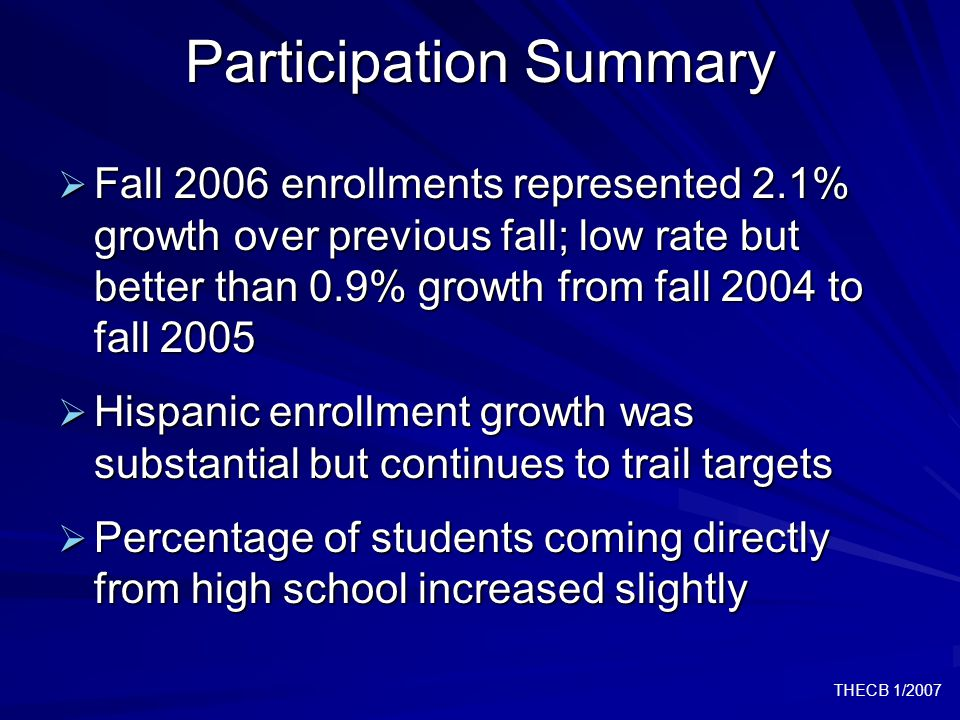THECB 1/2007 Participation Summary  Fall 2006 enrollments represented 2.1% growth over previous fall; low rate but better than 0.9% growth from fall 2004 to fall 2005  Hispanic enrollment growth was substantial but continues to trail targets  Percentage of students coming directly from high school increased slightly