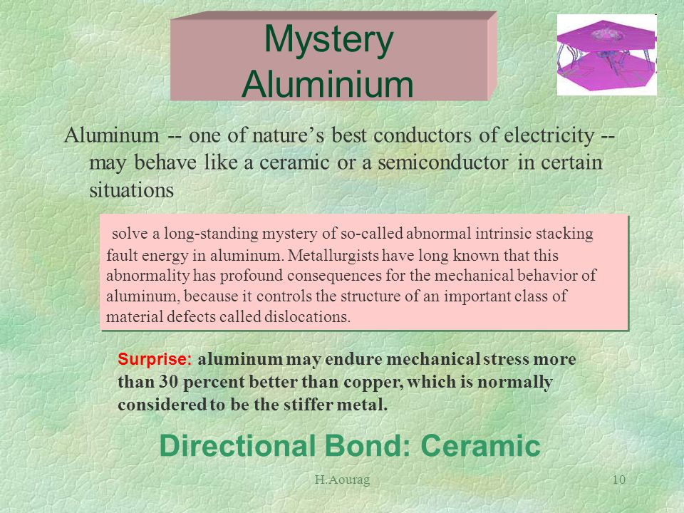 H.Aourag10 Aluminum -- one of nature's best conductors of electricity -- may behave like a ceramic or a semiconductor in certain situations Mystery Aluminium Surprise: aluminum may endure mechanical stress more than 30 percent better than copper, which is normally considered to be the stiffer metal.
