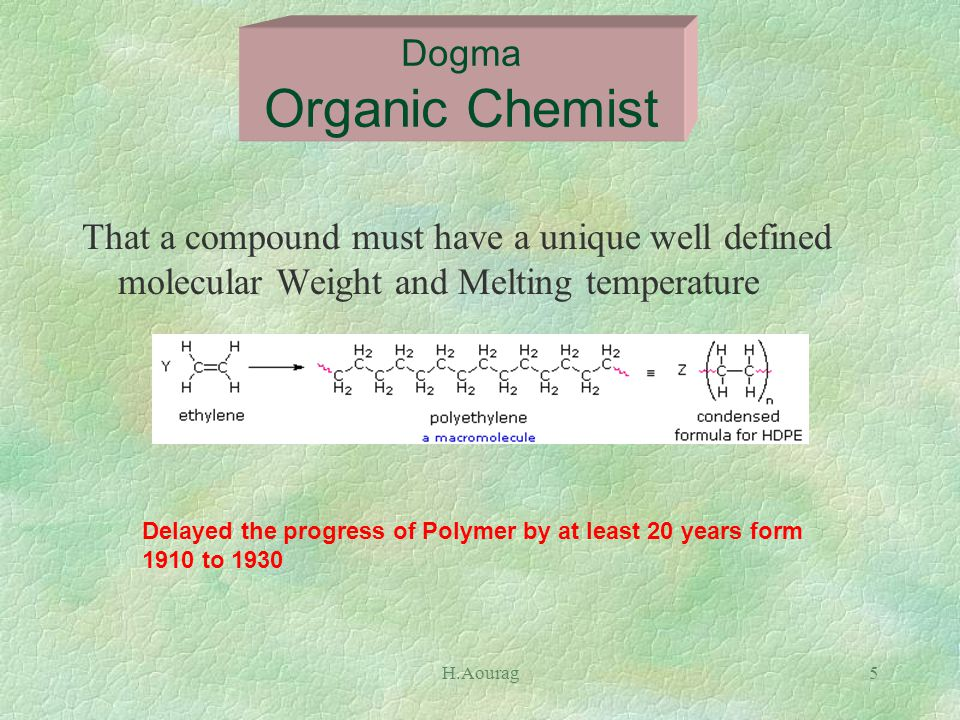 H.Aourag5 That a compound must have a unique well defined molecular Weight and Melting temperature Dogma Organic Chemist Delayed the progress of Polymer by at least 20 years form 1910 to 1930