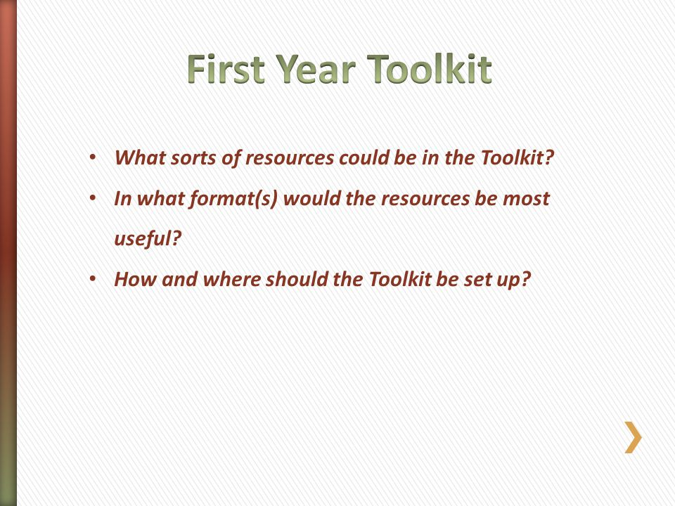 What sorts of resources could be in the Toolkit? In what format(s) would the resources be most useful? How and where should the Toolkit be set up?
