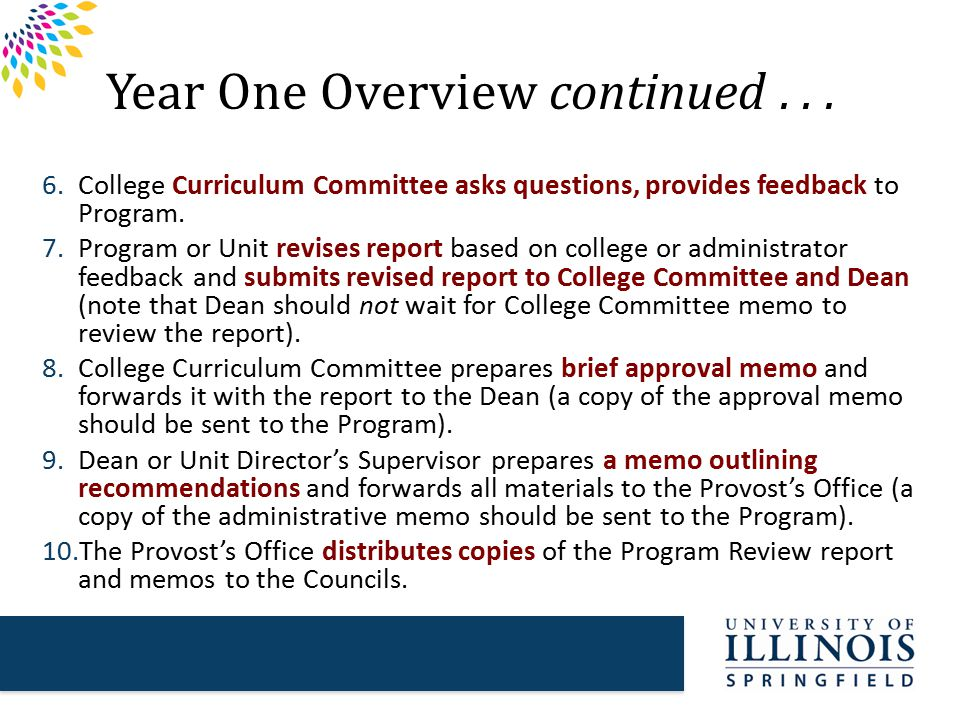 Year Two Overview  Councils review materials and usually invite program or unit representatives and dean to a meeting to answer questions and clarify areas of the report.