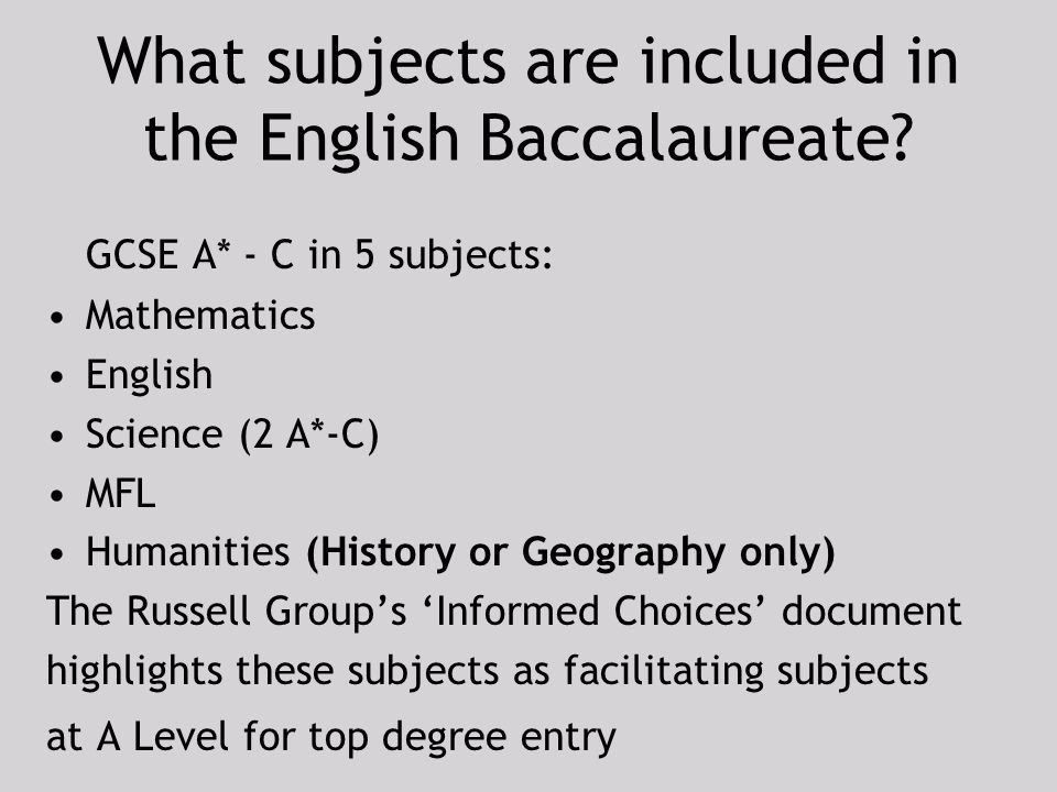 Can someone please explain the english baccaluareate?