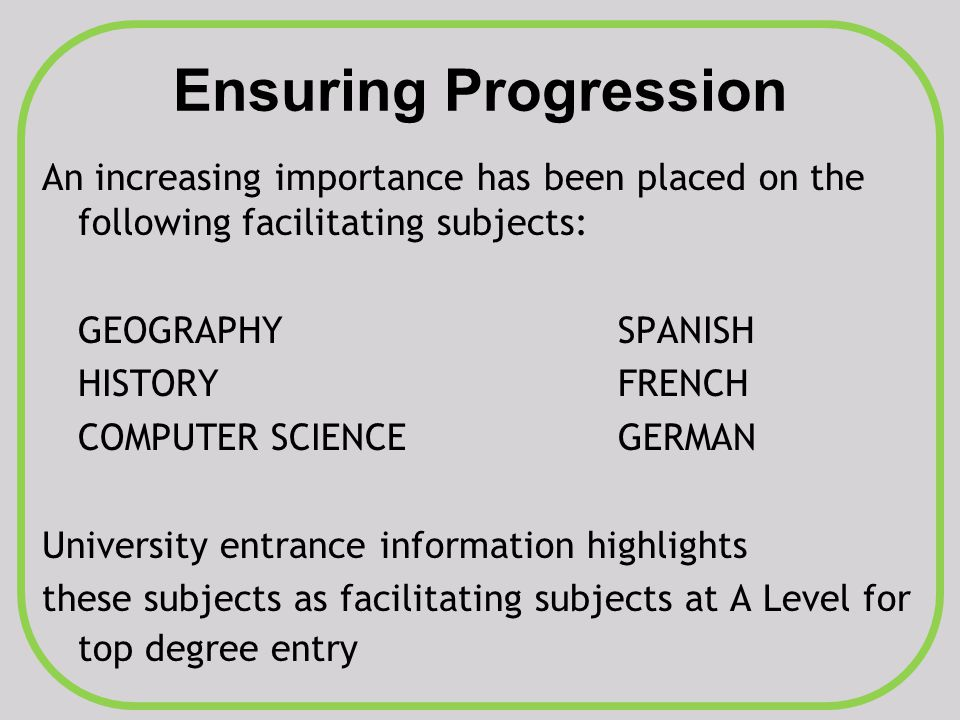 Ensuring Progression An increasing importance has been placed on the following facilitating subjects: GEOGRAPHYSPANISH HISTORYFRENCH COMPUTER SCIENCEG