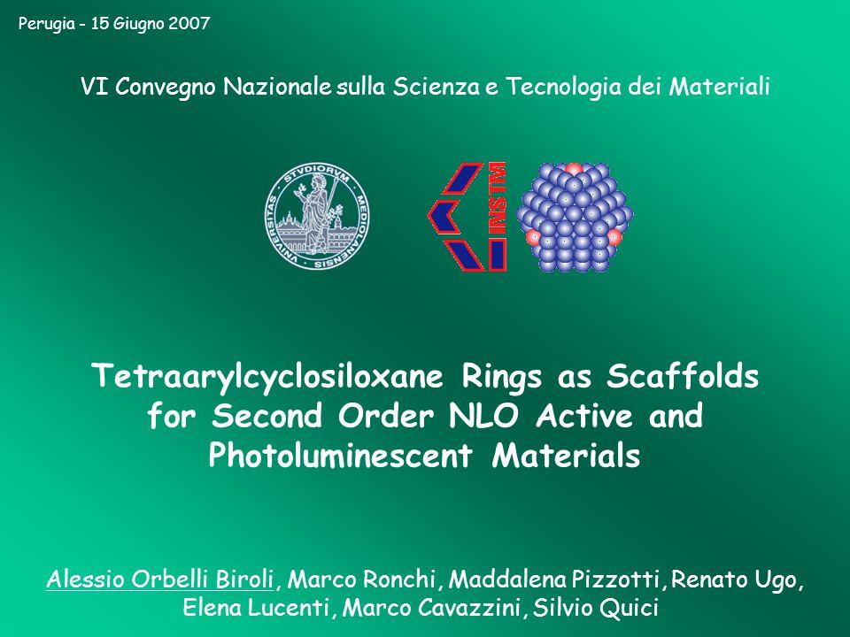 Perugia - 15 Giugno 2007 VI Convegno Nazionale sulla Scienza e Tecnologia dei Materiali Tetraarylcyclosiloxane Rings as Scaffolds for Second Order NLO