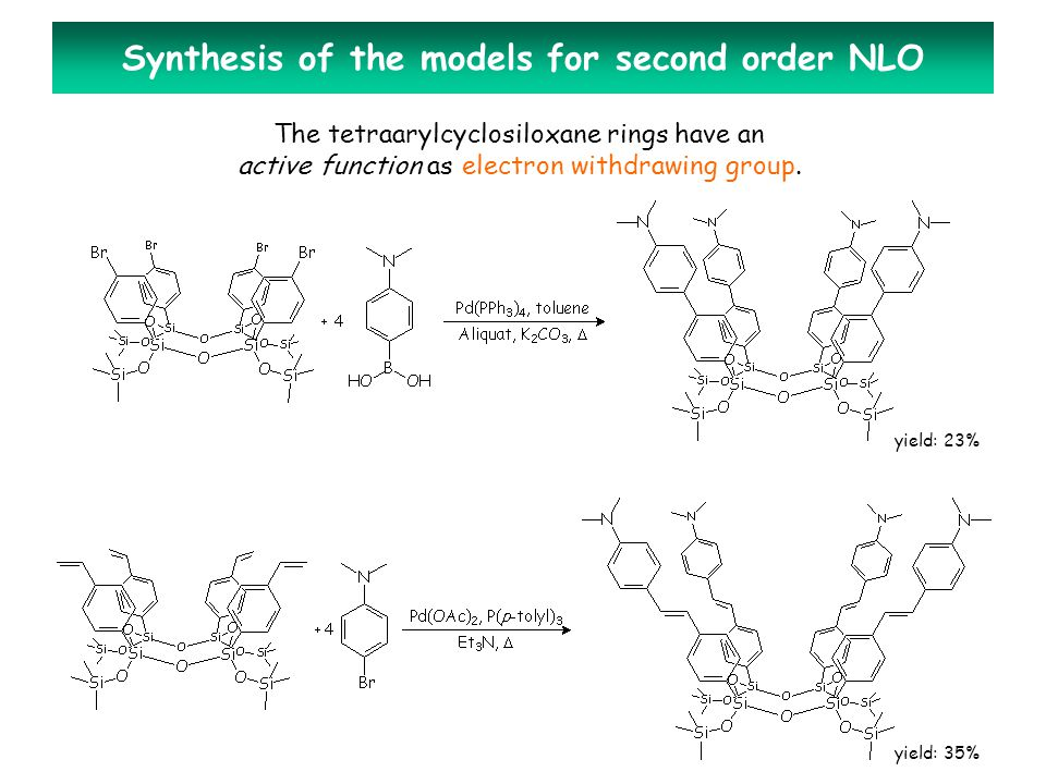 Synthesis of the models for second order NLO The tetraarylcyclosiloxane rings have an active function as electron withdrawing group.