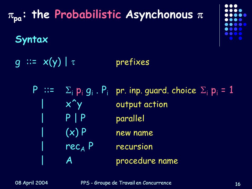 08 April 2004PPS - Groupe de Travail en Concurrence 16  pa : the Probabilistic Asynchonous  Syntax g ::= x(y) |  prefixes P ::=  i p i g i.