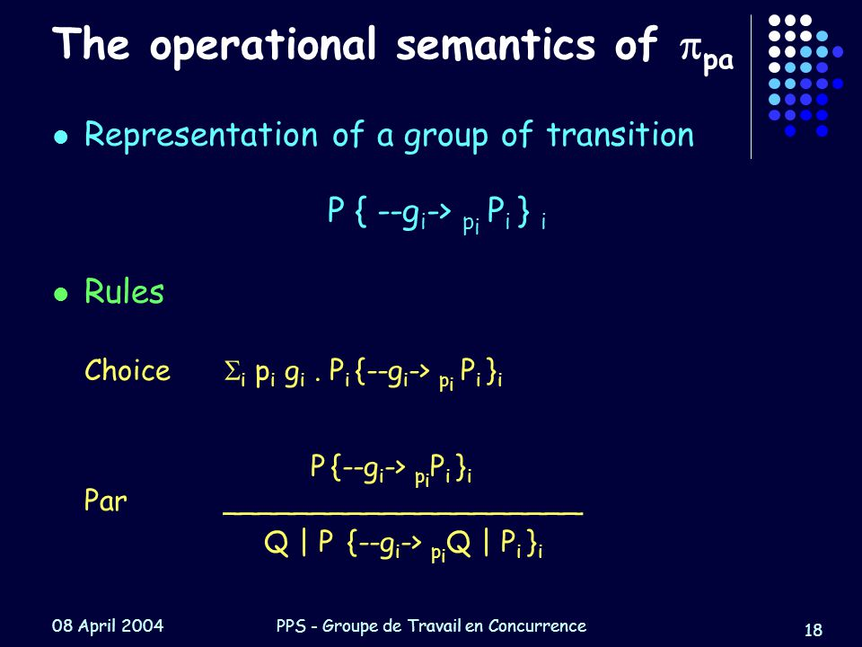 08 April 2004PPS - Groupe de Travail en Concurrence 18 The operational semantics of  pa Representation of a group of transition P { --g i -> p i P i } i Rules Choice  i p i g i.