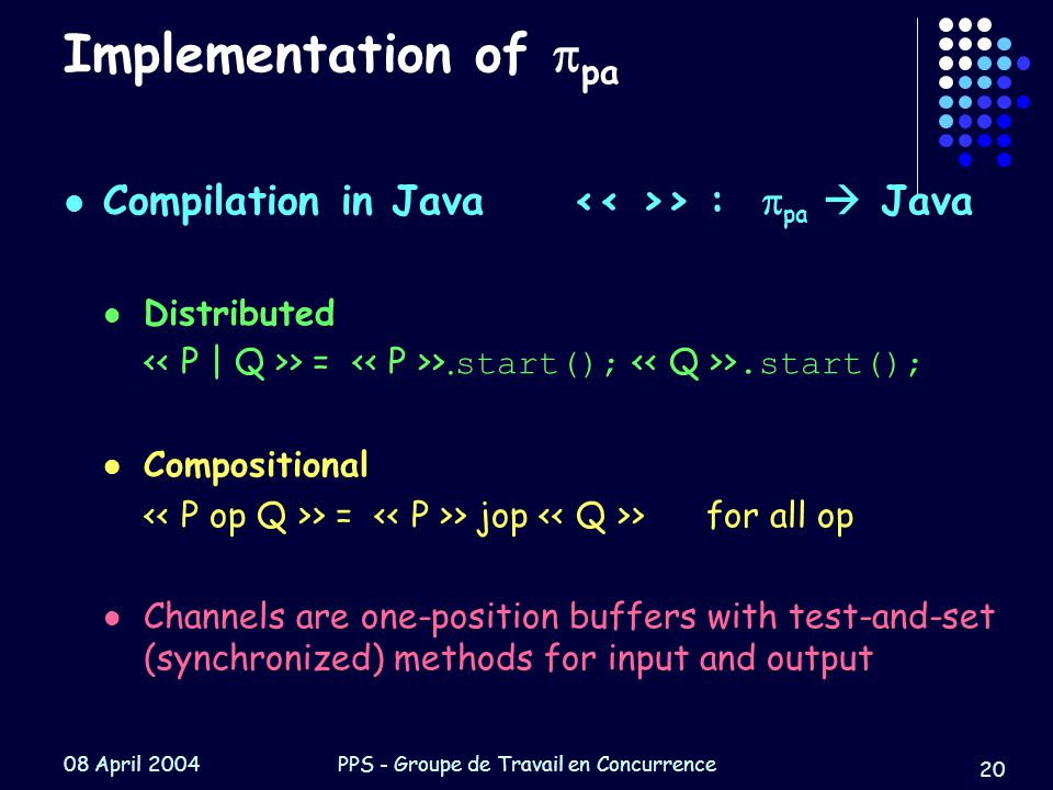 08 April 2004PPS - Groupe de Travail en Concurrence 20 Implementation of  pa Compilation in Java > :  pa  Java Distributed > = >.