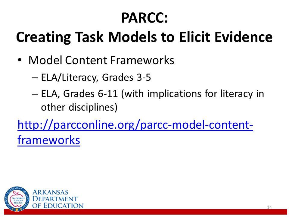 PARCC: Creating Task Models to Elicit Evidence Model Content Frameworks – ELA/Literacy, Grades 3-5 – ELA, Grades 6-11 (with implications for literacy in other disciplines) http://parcconline.org/parcc-model-content- frameworks 14