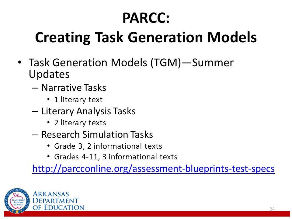PARCC: Creating Task Generation Models Task Generation Models (TGM)—Summer Updates – Narrative Tasks 1 literary text – Literary Analysis Tasks 2 literary texts – Research Simulation Tasks Grade 3, 2 informational texts Grades 4-11, 3 informational texts http://parcconline.org/assessment-blueprints-test-specs 24