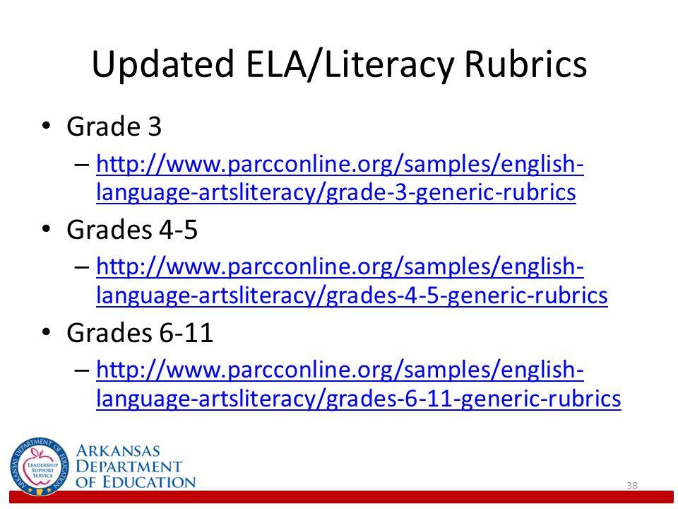 Updated ELA/Literacy Rubrics Grade 3 – http://www.parcconline.org/samples/english- language-artsliteracy/grade-3-generic-rubrics http://www.parcconline.org/samples/english- language-artsliteracy/grade-3-generic-rubrics Grades 4-5 – http://www.parcconline.org/samples/english- language-artsliteracy/grades-4-5-generic-rubrics http://www.parcconline.org/samples/english- language-artsliteracy/grades-4-5-generic-rubrics Grades 6-11 – http://www.parcconline.org/samples/english- language-artsliteracy/grades-6-11-generic-rubrics http://www.parcconline.org/samples/english- language-artsliteracy/grades-6-11-generic-rubrics 38