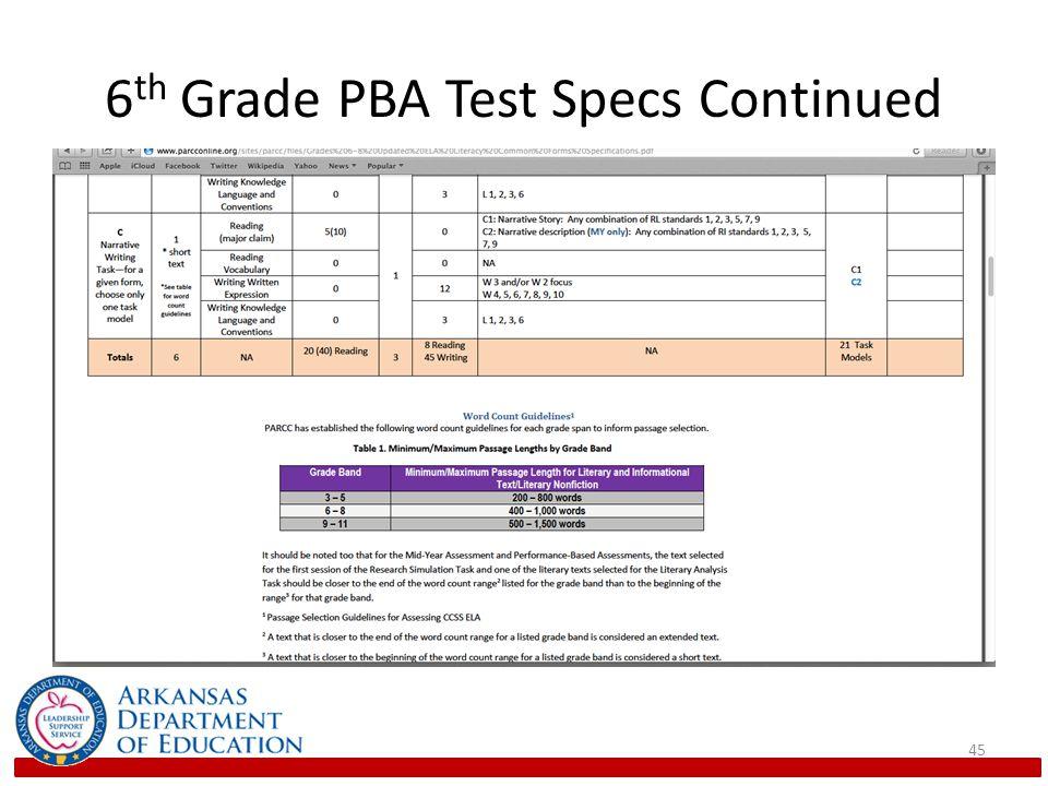6 th Grade PBA Test Specs Continued 45
