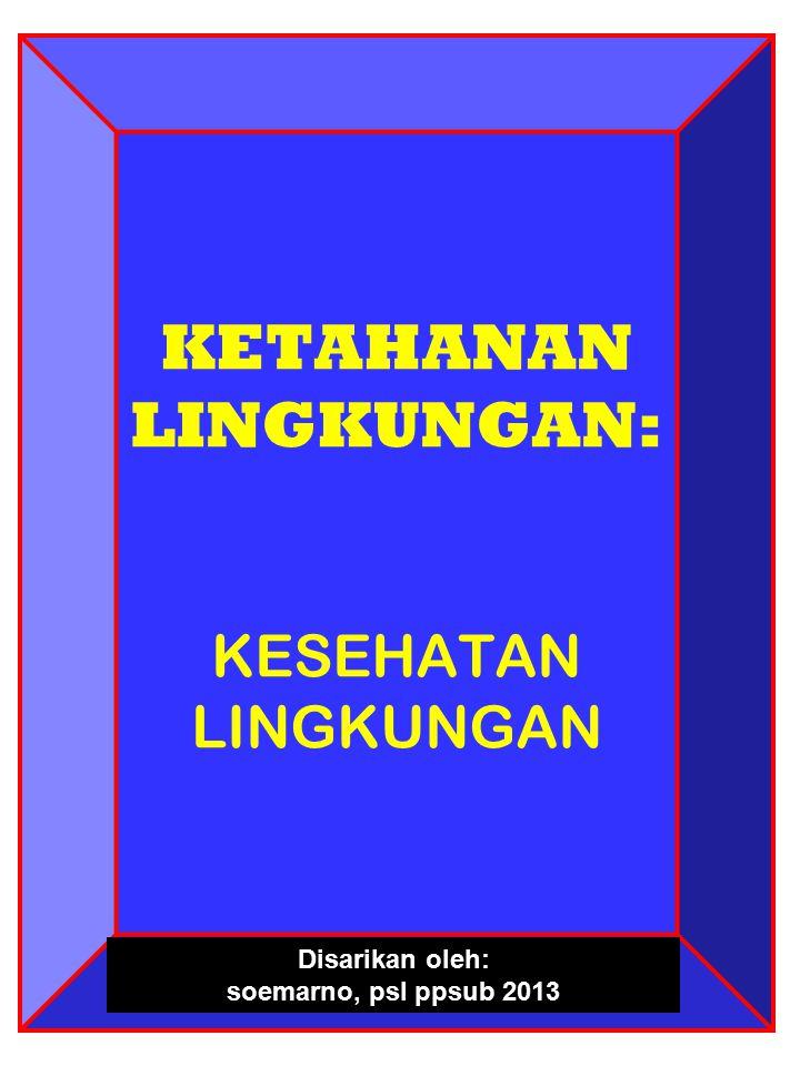 KETAHANAN LINGKUNGAN: KESEHATAN LINGKUNGAN Disarikan oleh: soemarno, psl ppsub 2013