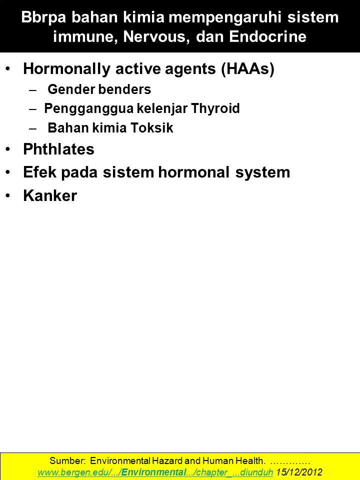 Hormonally active agents (HAAs) – Gender benders –Pengganggua kelenjar Thyroid – Bahan kimia Toksik Phthlates Efek pada sistem hormonal system Kanker Sumber: Environmental Hazard and Human Health.