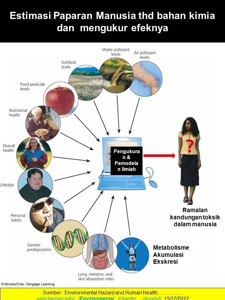 Estimasi Paparan Manusia thd bahan kimia dan mengukur efeknya Sumber: Environmental Hazard and Human Health.