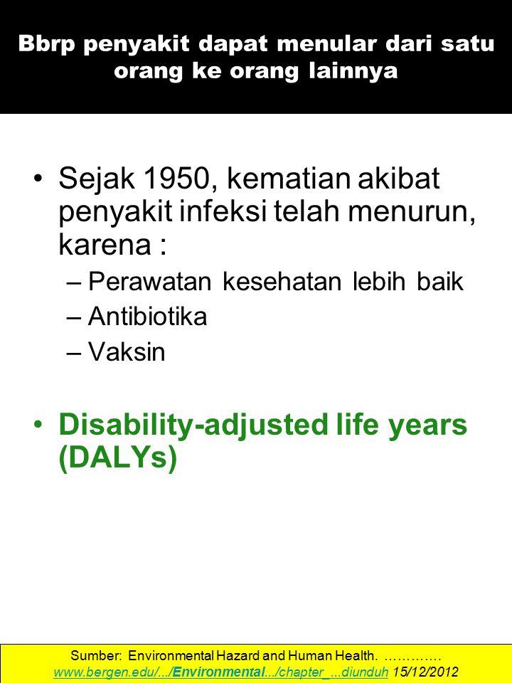 Sejak 1950, kematian akibat penyakit infeksi telah menurun, karena : –Perawatan kesehatan lebih baik –Antibiotika –Vaksin Disability-adjusted life years (DALYs) Sumber: Environmental Hazard and Human Health.